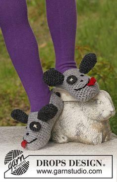 """Silly Puppy - Pantuflas """"perro"""" DROPS, en ganchillo, en """"Alaska"""". - Free pattern by DROPS Design"""
