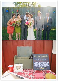 Fun guest book idea: Leaving out a box with paper and pens for guests to write sweet notes with and not opening the box until your 1st year anniversary.