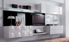 meuble TV en noir et blanc Design Moderne, Flat Screen, Shelves, Living Room, Home Decor, Tv Unit Design, Tv Storage, Furniture Ideas, White People