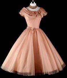 Mocha Organza Wedding Party Cocktail Dress - love the color Retro Wedding Dresses, Vintage Dresses, Vintage Outfits, Vintage Clothing, 50s Prom Dresses, 1950s Prom Dress, 1950s Party Dresses, Rockabilly Dresses, 1940s Dresses
