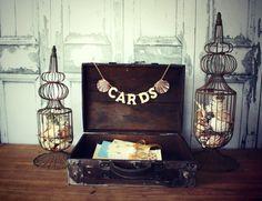 rustic wedding trunk card holder-beach-wedding card holder-card box-rustic-beach wedding-card sign-wood trunk vintage inspired-suitcase on Etsy, $46.00