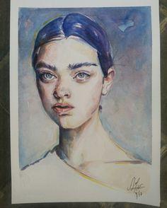 Retrato acuarela Basik 370g 23x32,5cm Alexandra Sánchez Moreno (2017)