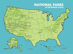 US National Parks Map Poster