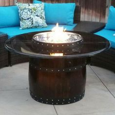 Hand Made Wine Barrel Propane Fire Pit. Ships from San Diego