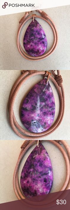 "Bundle and save 20% Agate Leather Choker Necklace A beautiful 16"" Crazy Lace agate leather choker necklace. After looking at every pendant necklace available I wanted a design that was totally different, unique, simple and stylish but made a statement. I designed the unique pendant 16 gauge copper wrap. After many many attempts I found a process that makes the wrap almost perfect every time! If not I cut it off and do it again. The clasps were also a design I came up with using 16 gauge…"