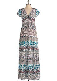 So Serene Dress - Long, Multi, Print, Casual, 70s, Maxi, Short Sleeves, Multi, Lace, Boho, Vintage Inspired, Summer-LOOOOOOOVE IT!