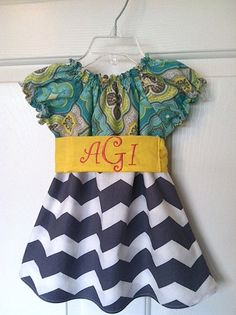 Teal, Yellow and Gray and White Chevron Peasant Dress with Yellow Monogrammed Sash