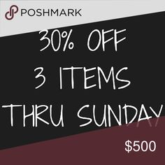 30% off 3 or more items through Sunday. Ends Sunday 10 PM EST White House Black Market Other