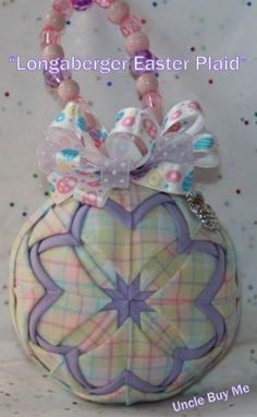 Quilted Ornaments Quilt Ball Ornament Longaberger Easter Plaid with Easter Basket Charm and Handmade Beaded Hanger Ornament Crafts, Beaded Ornaments, Ball Ornaments, Quilted Fabric Ornaments, Quilted Christmas Ornaments, Plaid Fabric, Christmas Snowflakes, Easter Crafts, Holiday Crafts