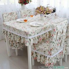Фотография #ChairCovers Kitchen Decor, Shabby Chic Kitchen, Shabby Chic Decor, Shabby Chic Homes, Sofa Covers, Furniture Covers, Table Covers, Diy Furniture, Dining Table Chairs