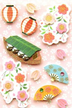 #Cute Japanese Style #Craft Stickers Cherry Blossoms - #Handmade #Stationery by #FromJapanWithLove on #Etsy