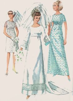 1960s Wedding Dress Simplicity 7084 Empire Waist Bell Sleeve Bridal or Bridesmaids Dress Vintage MOD Sewing Pattern Size 14 Bust 34 inches by sandritocat on Etsy