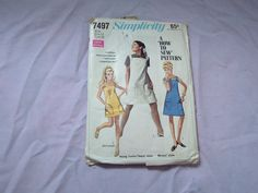 Vintage 1960s jumper dress pattern simplicity