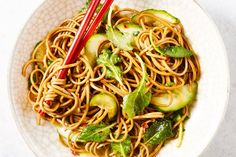 This noodle bowl has chewy soba noodles, crispy cucumbers, and tender baby kale all tossed in a garlicky, savory sauce built from easy-to-find Asian sauces and condiments.