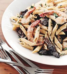 Penne with Shrimp and Morel Mushrooms - Bon Appétit