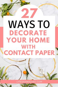 Contact paper is a simple way to transform plain or outdated items around your home on a budget. In this post, I've rounded up a list of 27 contact paper ideas for every room in your home. Contact Paper Cabinets, Contact Paper Countertop, Upcycled Home Decor, Diy Home Decor, Upcycle Bedside Table, Chalkboard Contact Paper, Ikea Side Table, Countertop Decor, I Heart Organizing