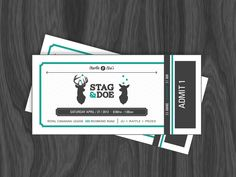 Hello Dribbble, I've been a long time observer and finally decided to upload a debut shot. These are Stag & Doe tickets I created for my cousin and his fiancée.