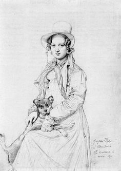 Jean Auguste Dominique Ingres, Mademoiselle Henriette Ursule Claire, maybe Thevenin, and her dog Trim, 1816
