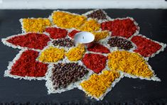 Latest Rice Rangoli Designs Images, Wallpaper, Video for This Diwali Diy Crafts India, Home Crafts, Kid Crafts, Holiday Crafts, Indian Festival Of Lights, Festival Lights, Diwali Craft For Children, Diwali Inspiration, 2nd Grade Crafts
