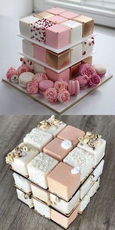 A base of these (if they're like mini cakes not petit fours). Then a square … A base of these (if they're like mini cakes not petit fours). Then a square layer on top to cut. Beautiful Wedding Cakes, Beautiful Cakes, Amazing Cakes, Perfect Wedding, Pretty Cakes, Cute Cakes, Fancy Cakes, Sweet Cakes, Mini Cakes