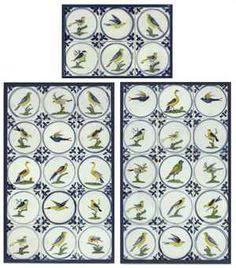 THIRTY-SIX LIVERPOOL DELFT POLYCHROME BIRD TILES 1760 - 1775