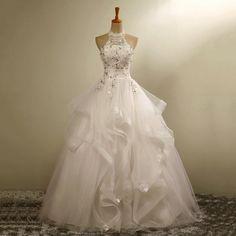 Ball Gown Wedding Dresses Lace Halter Ivory Crystal Vestido De Novias Tulle  Organza Bride Dresses Custom 8e10c64d512d
