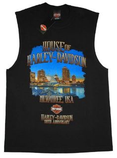 House of Harley-Davidson® Skyline Men's Sleeveless Harley-Davidson® Bar & Shield Logo 110th Anniversary T-Shirt. House of Harley-Davidson® Graphics Front and Back. Black. Tee. 302962610 | http://www.bikeraa.com