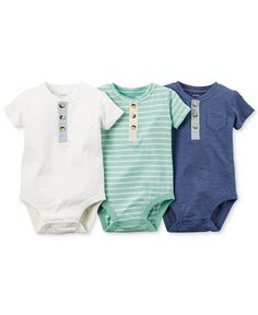 Carter's Baby Boys' 3-Pack Henley-Style Short-Sleeve Bodysuits