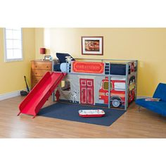 Twin Loft Bed with Slide | Boys' Fire Department Twin Loft Bed with Slide, Red: Kids' & Teen ...