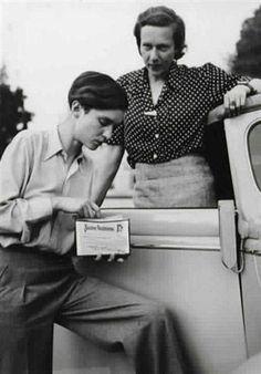 "Annemarie Schwarzenbach and Ella Maillart in the Ford Roadster ""De Luxe"" 18 CV, June 1939."