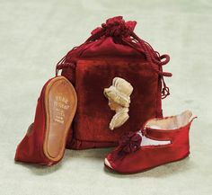 We love these so much we are red in the face. French silk shoes for Bebe Jumeau,and velvet purse which was originally for use as candy container. circa 1885. http://Theriaults.com/