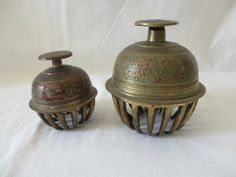 Antique Elephant Bells | TWO ANTIQUE BRASS AND ENAMEL ELEPHANT BELLS 4.75'' & 4.25 HIGH
