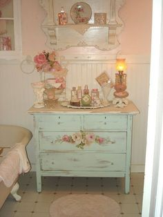 Vintage Dresser  (an old dresser painted shabby with my tub, would be nice to have mirror on dresser)
