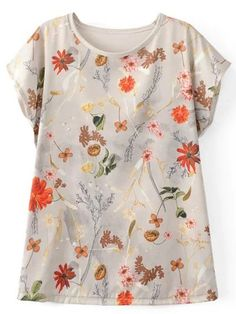Shop Short Sleeve Floral T-shirt online. SheIn offers Short Sleeve Floral T- e658458edbc