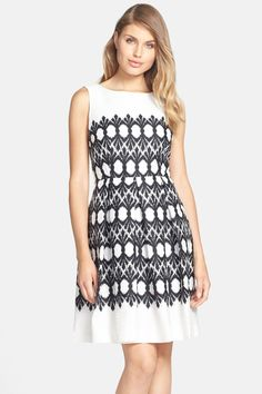 Taylor Dresses Print Jacquard Cotton Fit & Flare Dress by Taylor on @nordstrom_rack