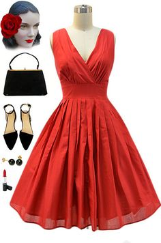 50s Style Solid RED Bombshell PINUP Surplice Sun Dress with FULL Skirt #TeaDress #Casual