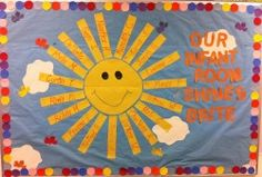 """Students Shine Bright - Summer Bulletin Board Idea """"our future shines bright"""" with the kids writing their own name. would be easy to swap out new incoming kids? on Bulletin Board Ideas!I Wish You Would I Wish You Would may refer to: Sun Bulletin Boards, Toddler Bulletin Boards, Colorful Bulletin Boards, Toddler Classroom, Classroom Door, Infant Classroom Ideas, Classroom Displays, Infant Room Daycare, Daycare Rooms"""