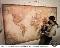 Super size modern world map 2016, Push pin travel map, 90'' x 55'', 230 x 140 cm, School chart, Hanging map, Canvas & hidden frame, Z maps