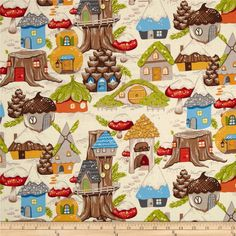 Christmas Time Gnome Avenue Wood Brite from @fabricdotcom  Designed by DeLeon Design Group for Alexander Henry, this cotton print is perfect for quilting, apparel and home decor accents.  Colors include off white, tan, brown, gold, orange, red, green, blue and grey.