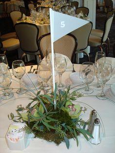 golf theme wedding centerpiece cute idea--maybe do a burlap flag?