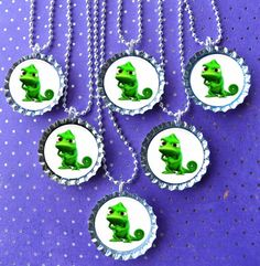 Tangled  party bottle cap necklace Party Favor pack (8) pascal  / contact me for other quantities needed.
