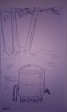 9-15-2016 Water pump barrel and spout with trees in the background