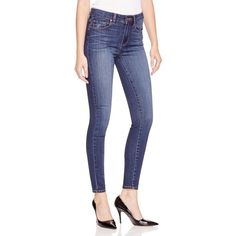 Paige Denim Hoxton Transcend Ultra Skinny Jeans in Raylene ($185) ❤ liked on Polyvore featuring jeans, raylene, blue jeans, high-waisted jeans, paige denim, highwaist jeans and blue skinny jeans
