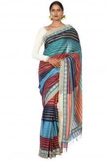Multicoloured Striped Saree