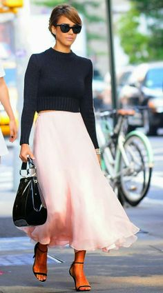 Jessica Alba in Ultra Feminine Look, Cropped Sweater Top and Pastel Pink Chiffon Skirt