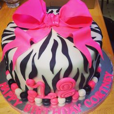 Zebra cake with pink bow! Birthday Cakes, Zebra Cakes, Bows, Desserts, Pink, Food Cakes, Arches, Tailgate Desserts, Deserts