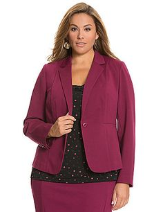 Polished ponte knit and a sleek, fitted silhouette make our versatile jacket the must-own piece for a well-dressed wardrobe. Designed to flatter with crisp seaming in all the right places and the classic details you love, it features single-button closure, notched lapels and vented back, plus button-accented cuffs for a clean finish. Unlined.  lanebryant.com
