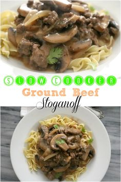 Slow Cooker Ground Beef Stroganoff is an easy weeknight meal that's ready when you are & starts with simple ingredients already in the pantry. http://kitchendreaming.com/slow-cooker-beef-stroganoff/
