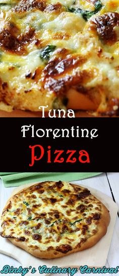 Tuna Florentine Pizza with Lemon Dill Aioli is so fast and easy! Just like a grilled tuna and cheese sandwich! - Binky's Culinary Carnival