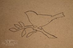 Paper straw bird art tracing with carbon paper